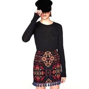 Zara Tapestry Jacquard Mini Skirt With Tassels
